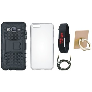 Oppo A57 Shockproof Tough Armour Defender Case with Ring Stand Holder, Silicon Back Cover, Digital Watch and AUX Cable