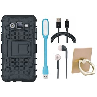 Samsung C7 Pro Defender Tough Hybrid Shockproof Cover with Ring Stand Holder, Earphones, USB LED Light and USB Cable