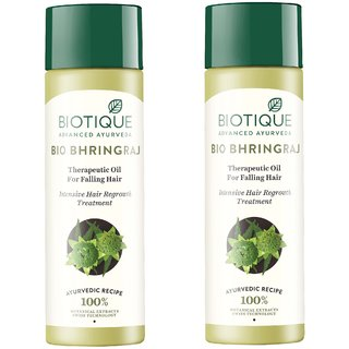 BIOTIQUE BIO BHRINGRAJ THERAPEUTIC OIL INTENSIVE HAIR REGROWTH TREATMENT 120ML ( PACK OF 2 )