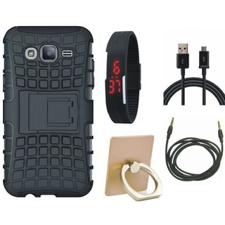 Samsung C9 Pro Shockproof Tough Defender Cover with Ring Stand Holder, Digital Watch, USB Cable and AUX Cable