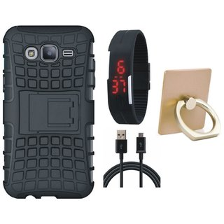 Samsung C9 Pro Shockproof Tough Defender Cover with Ring Stand Holder, Digital Watch and USB Cable