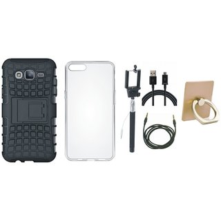 Motorola Moto C Plus Shockproof Tough Defender Cover with Ring Stand Holder, Silicon Back Cover, Selfie Stick, USB Cable and AUX Cable