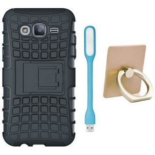 Samsung C9 Pro Dual Protection Defender Back Case with Ring Stand Holder, USB LED Light