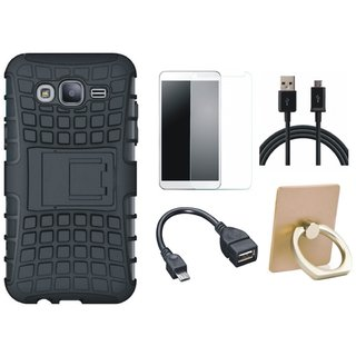 Samsung C7 Pro Defender Tough Hybrid Shockproof Cover with Ring Stand Holder, Tempered Glass, OTG Cable and USB Cable