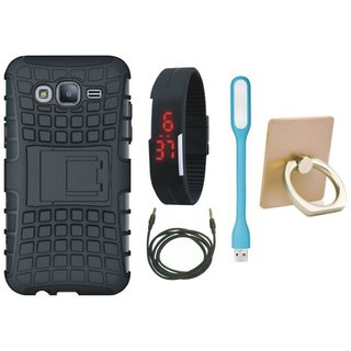 Samsung C9 Pro Shockproof Tough Defender Cover with Ring Stand Holder, Digital Watch, USB LED Light and AUX Cable