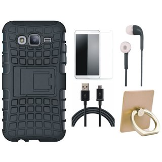 Samsung C7 Pro Defender Tough Hybrid Shockproof Cover with Ring Stand Holder, Tempered Glass, Earphones and USB Cable