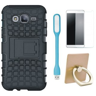 Samsung C9 Pro Dual Protection Defender Back Case with Ring Stand Holder, Tempered Glas and USB LED Light