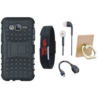 Samsung C9 Pro Shockproof Tough Defender Cover with Ring Stand Holder, Digital Watch, Earphones and OTG Cable