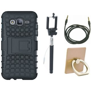 Samsung C7 Pro Shockproof Kick Stand Defender Back Cover with Ring Stand Holder, Selfie Stick and AUX Cable