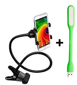 MO Combo of Portable Foldable Universal Flexible Mobile Holder Lazy Stand + Portable Flexible USB LED Light