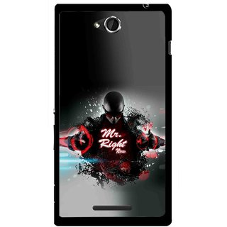 Snooky Printed Mr.Right Mobile Back Cover For Sony Xperia C - Multicolour