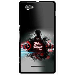 Snooky Printed Mr.Right Mobile Back Cover For Sony Xperia M - Multicolour
