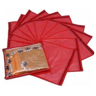 FAshion Bizz Non Woven Red Saree Bags Set of 12 Pcs Combo