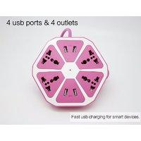 Universal 4 USB Plug Socket Power Extension Box Socket