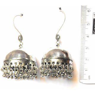 Bell Antique dangler Earring reflecting. oxidized metal. India. Chandelier 6cm