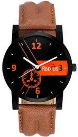 Denim Round Dial Brown Strap Wrist Watch For Men