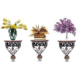 Shilpi Wooden Handmade Beautiful Design Brown Wall Shelf