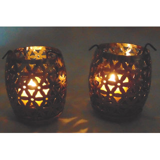 Desert Overseas Iron Golden Color Tea Light Holder Set of 2