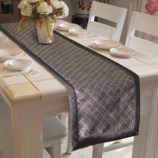 Lushomes Black Jacquard Table Runner with High Quality Polyester Border (Size: 16 x72 ) single piece