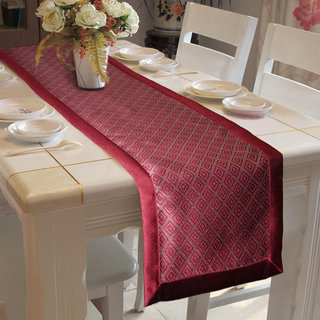 Lushomes Maroon Jacquard Table Runner with High Quality Polyester Border (Size: 16 x72 ) single piece