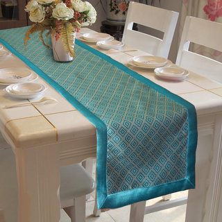 Lushomes Light Blue Jacquard Table Runner with High Quality Polyester Border (Size: 16 x72 ) single piece