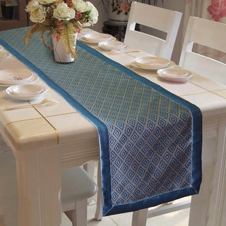 Lushomes Blue Jacquard Table Runner with High Quality Polyester Border (Size: 16 x72 ) single piece