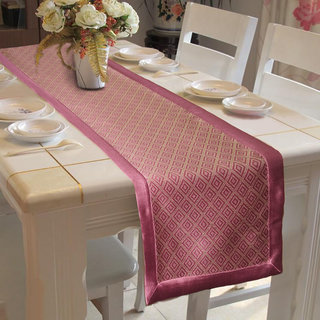 Lushomes Pink Jacquard Table Runner with High Quality Polyester Border (Size: 16 x72 ) single piece