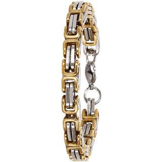Bijou Vertex Silver & Gold Link Mens Stainless Steel Bracelet