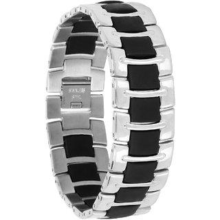 Bijou Vertex Black & Silver Wide Stainless Steel Bracelet