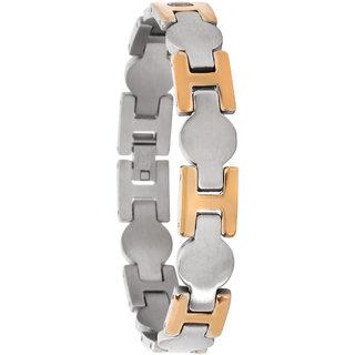 Bijou Vertex H Link Matt Silver & Gold Stainless Steel Bracelet