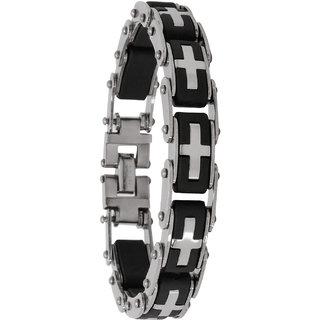Bijou Vertex Chain Link Black & Silver Stainless Steel Bracelet