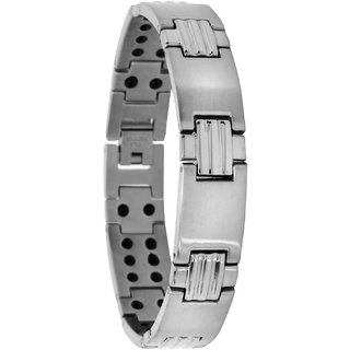 Bijou Vertex Brushed Sliver Magnetic Therapy Stainless Steel Bracelet