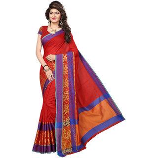 Swaron Women's Maroon and Orange Colored Cotton Silk Jacquard Border Festive Wear Saree
