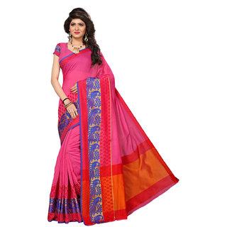Swaron Women's Pink and Orange Colored Cotton Silk Jacquard Border Festive Wear Saree