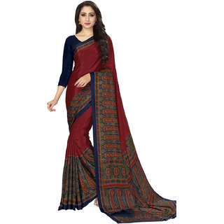 Meia Womens Maroon and Multi Colored Crepe Printed Casual Wear Saree