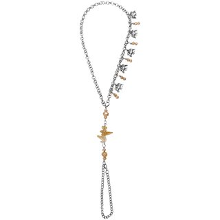 Bijou Vertex Silver & Natural Anklet With Elephant Charms