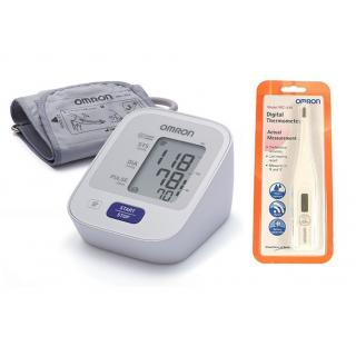OMRON HEM-7120 AUTOMATIC BP MONITOR WITH 5 YEARS WARRANTY AND DIGITAL THERMOMETER OMRON MC-246 COMBO.