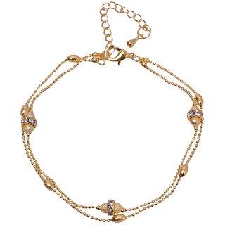 Bijou Vertex Ball Chain Rose Gold Anklet Crystal Gems