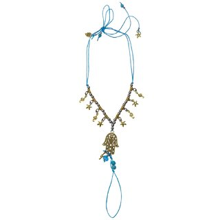 Bijou Vertex Turquoise Beach Anklet With Hamza & Charms