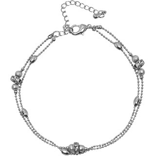 Bijou Vertex Ball Chain Silver Anklet Crystal Gems