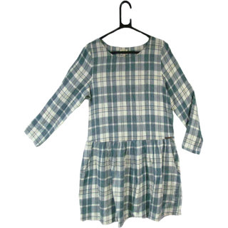Ladies long sleeve light blue checks viscose dress