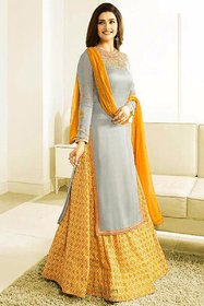 GrayYellow Colored Heavy Embroidered Worked Part Wear Sharara Suit