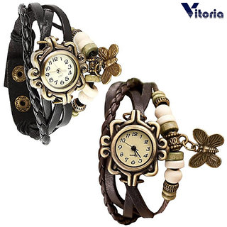Vitoria --Leather Bracelet Watch for Girls - Multilayer Design --Vintage Classic Watch (Pack of 2)