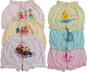 Pack of 6 Multicolor Fine Combed Cotton Soft n Comfort Bloomers for kids