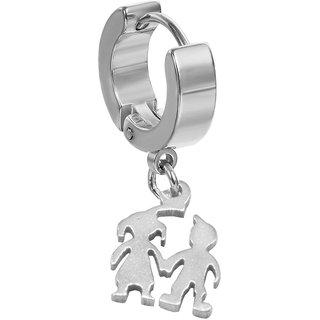 58e662fd9 Buy Sullery Valentine Gift Couple Boy Girl Silver Stainless Steel Drops  Earring For Men Women Online - Get 67% Off