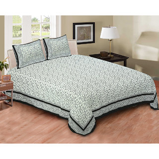 Printage Mughal bed Sheet Double Bed with Pillow Cover BSDP4003Black