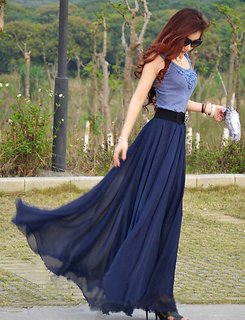 Rosella Navy Blue Georgette Maxi Skirt
