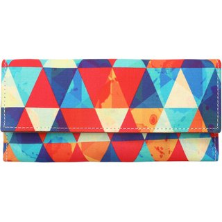 Meia multi-colored triangular patterned Ladies Wallet