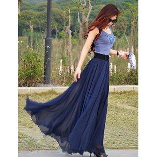 Rosella Navy Blue Georgette Maxi Skirt