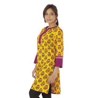 Vihaan Impex Yellow Pure Cotton Hand Block Printed Designer Kurti Tunic Top